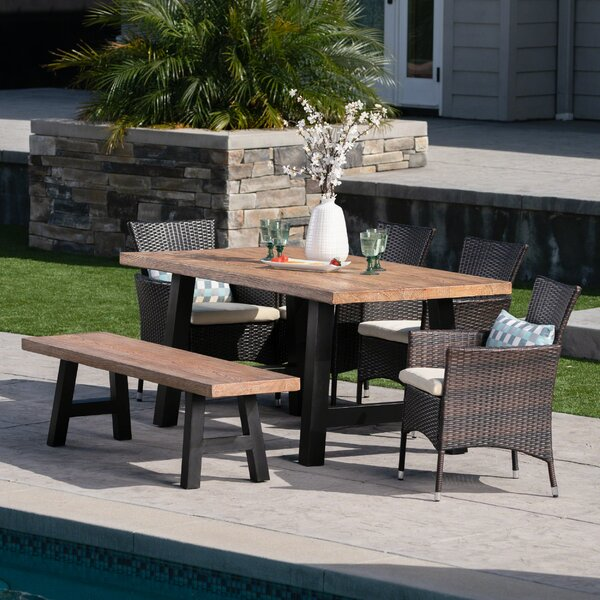 Peete 6 Piece Dining Set with Cushions by Gracie Oaks