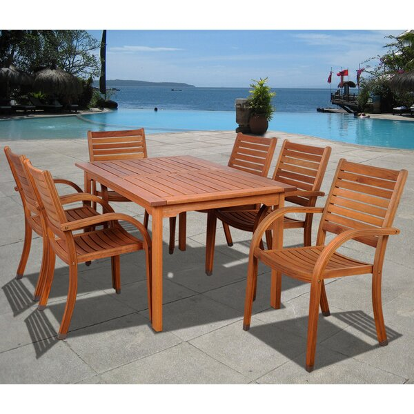 Troiano International Home Outdoor 7 Piece Dining Set by Highland Dunes