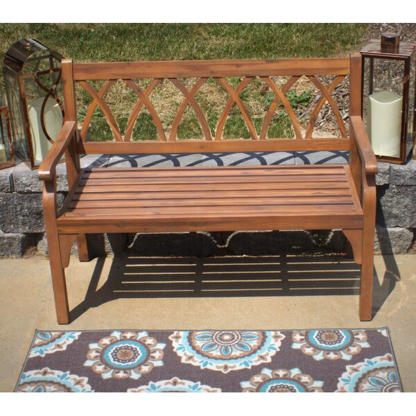 Dolores Elegant Outdoor Wooden Garden Bench by Highland Dunes Highland Dunes