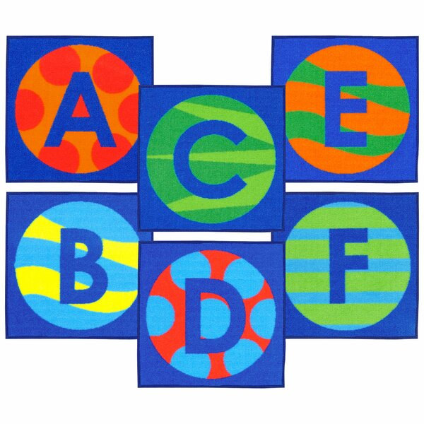 Allerone Alphabet Patterns Sitting Blue Area Rug by Zoomie Kids