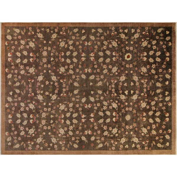 Xenos Hand-Knotted Wool Charcoal/Light Brown Area Rug by Astoria Grand