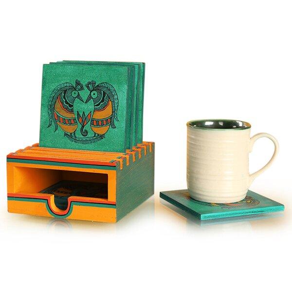 Ocean Madhubani Handpainted Wooden Coaster (Set of 7) by Bloomsbury Market
