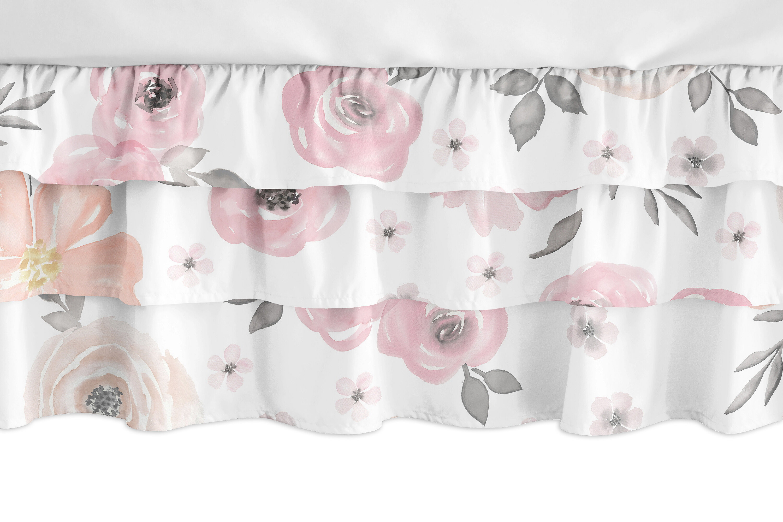 Pink Solid 3 Tiered Ruffled Crib Skirt Fits Standard Cribs