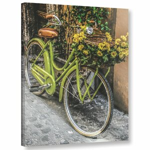 'Bicycle Flower Basket'  Painting Print On Wrapped Canvas by August Grove
