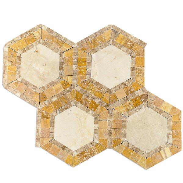Zeta Random Sized Marble Mosaic Tile in Crema Marfil/Noche by Splashback Tile