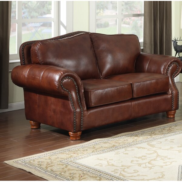Battista Premium Leather Loveseat by Darby Home Co