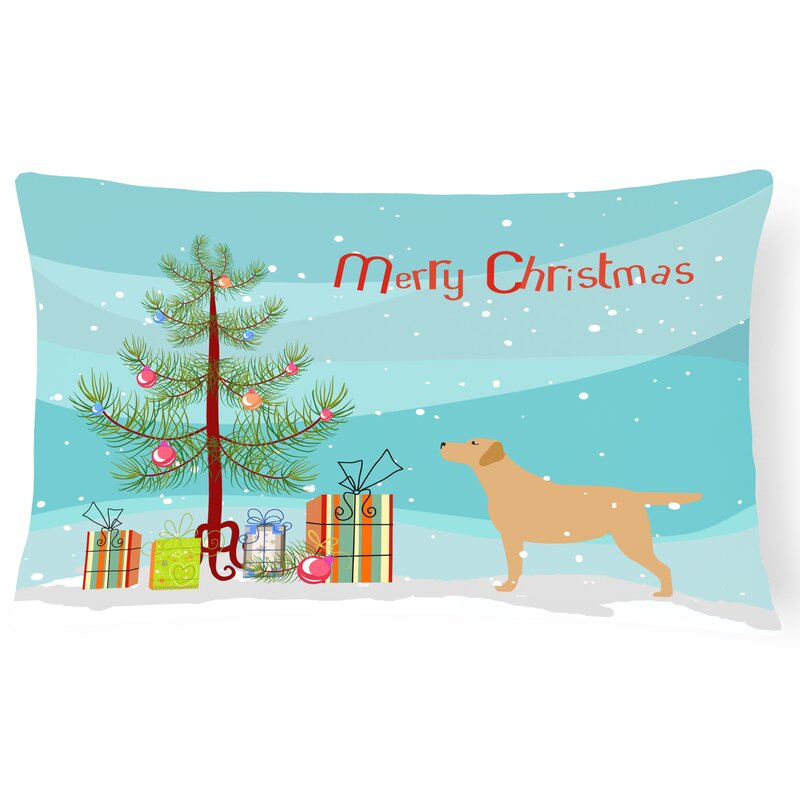 labrador retriever merry christmas tree indooroutdoor lumbar pillow - Labrador Outdoor Christmas Decoration