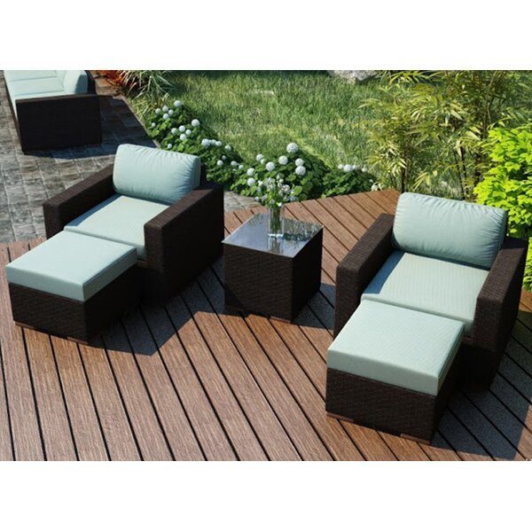 Arden 5 Piece Teak Seating Group with Sunbrella Cushions by Harmonia Living