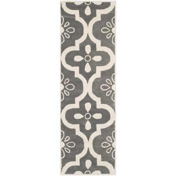 Wilkin Moroccan Hand-Tufted Wool Dark Gray/Ivory Indoor/Outdoor Area Rug by Wrought Studio