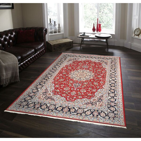 One-of-a-Kind Isfahan Hand-Knotted Red/Light Blue 5' x 7'8 Area Rug