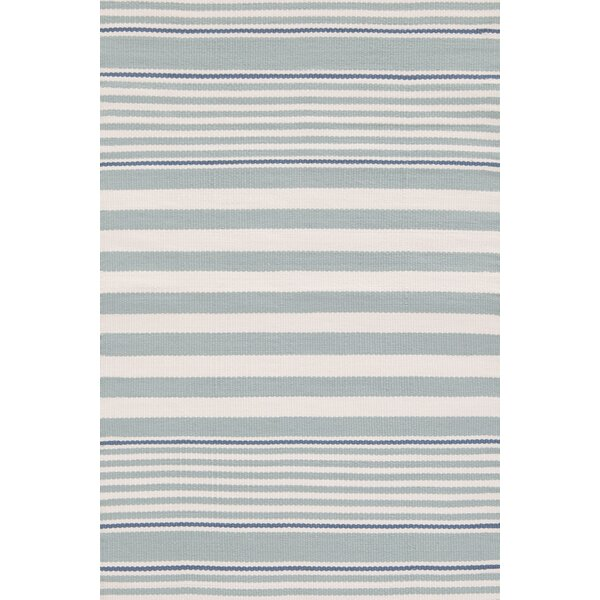 Rugby Stripe Hand Woven Light Blue Indoor/Outdoor Area Rug by Dash and Albert Rugs