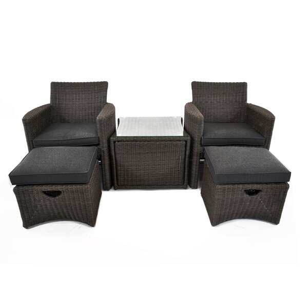 Fredricks 5 Piece Rattan with Sunbrella Cushions by Bloomsbury Market