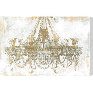 U0027Gold Diamonds Faded Chandelieru0027 Graphic Art Print On Wrapped Canvas