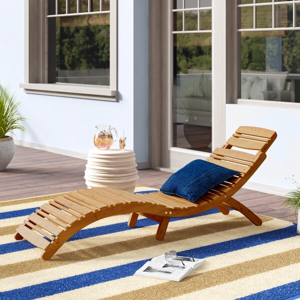 Tifany Wood Outdoor Chaise Lounge by Beachcrest Home Beachcrest Home