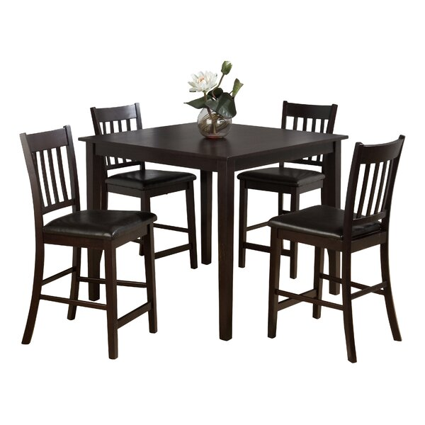 Manns 5 Piece Solid Wood Dining Set by Charlton Home Charlton Home