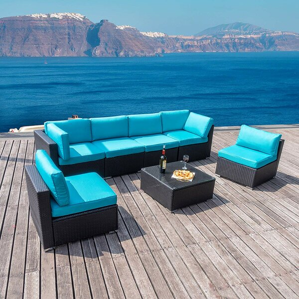 Mattes Patio 7 Piece Rattan Sectional Seating Group with Cushions by Latitude Run