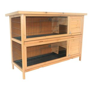 Haleigh 2-Story Stacked Wooden Outdoor Animal Bunny Rabbit Hutch/Guinea Pig House