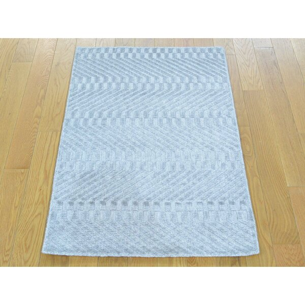 One-of-a-Kind Bean Handwoven Grey Wool/Silk Area Rug by Isabelline