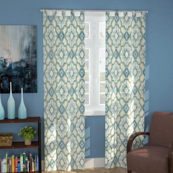 Ellison Geometric Semi-Sheer Rod Pocket Curtain Panels by Ebern Designs