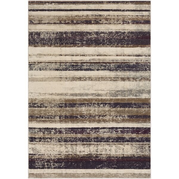 Oakdene Distressed Striped Cream Area Rug by Wrought Studio