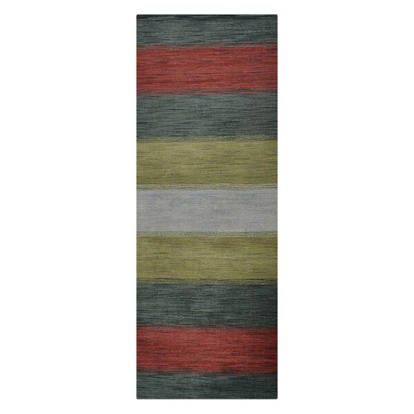Ry Hand-Woven Wool Green/Red Area Rug by Latitude Run