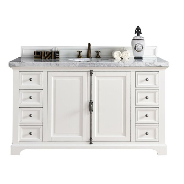 Ogallala 60 Single Ceramic Sink Cottage White Bathroom Vanity Set by Greyleigh