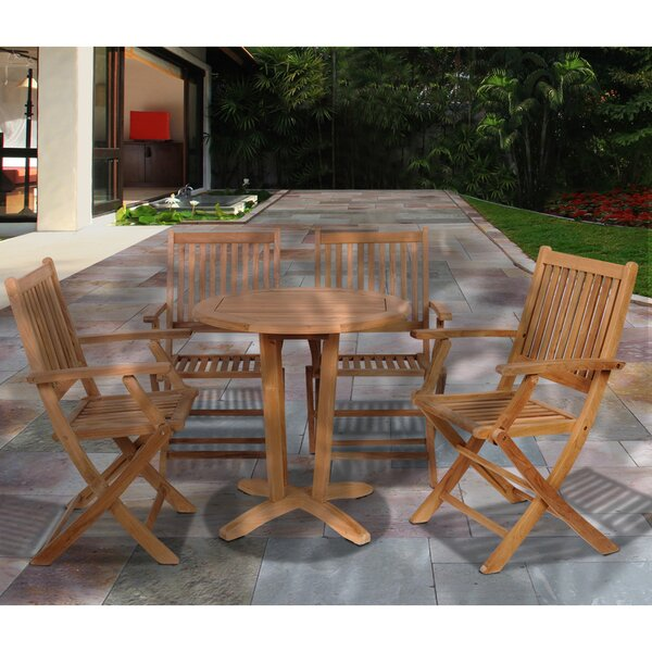 Lia International Home Outdoor 5 Piece Teak Dining Set by Rosecliff Heights
