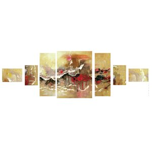 'Red Waves' 7 Piece Painting Print on Wrapped Canvas Set by Latitude Run