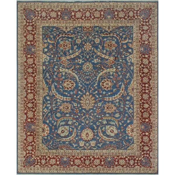 Longoria Chobi Knotted Wool Rectangle Blue Area Rug by Canora Grey