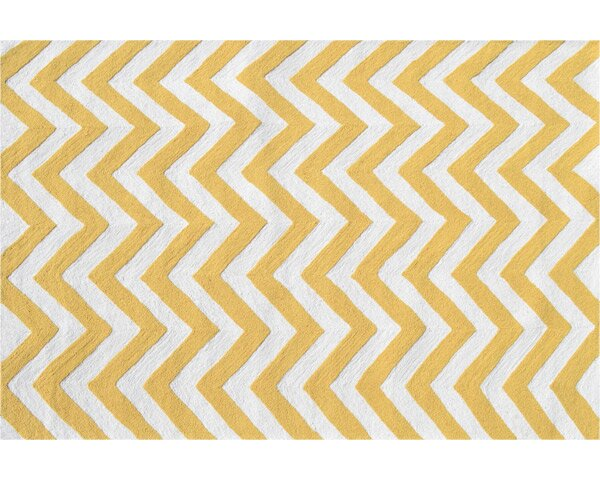 Hand-Woven Yellow/White Indoor/Outdoor Area Rug by The Conestoga Trading Co.
