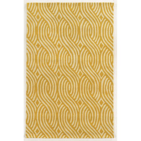 Larne Hand-Tufted Ivory/Gold Area Rug by Meridian Rugmakers
