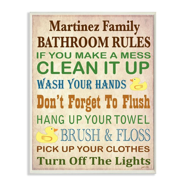 Personalized Bathroom Rules Rubber Duckies by Janet White Textual Art Plaque by Stupell Industries