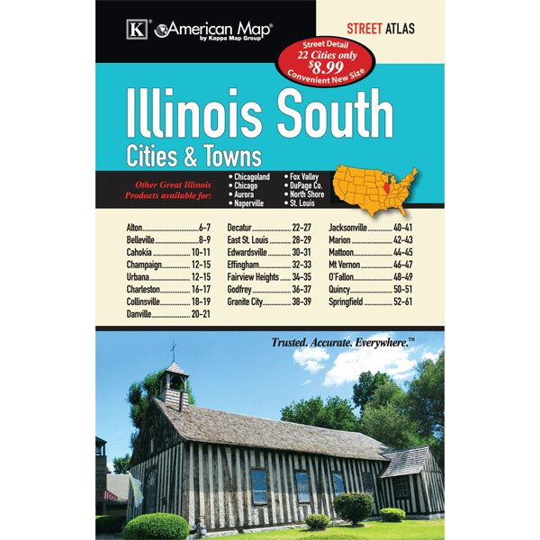 Illinois Southern Cities and Towns Atlas by Universal Map