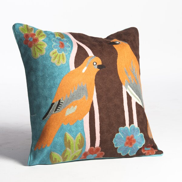 Crewel Pair of Birds Embroidery Wool Throw Pillow by Abigails