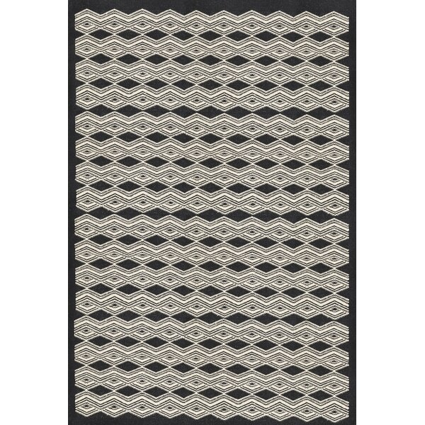 Jeannie Hand-Woven Black/Cream Area Rug by Ebern Designs