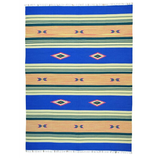 One-of-a-Kind Tookes Flat Weave Killim Reversible Hand-Knotted Cotton Blue/Beige Area Rug by Millwood Pines
