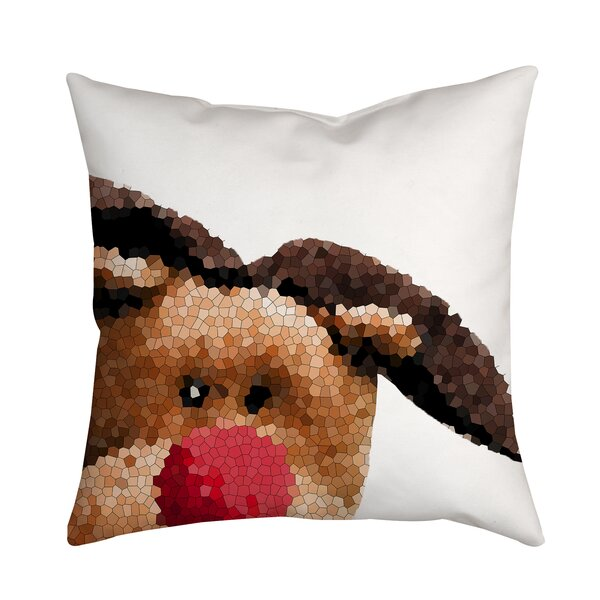 Holiday Treasures Peek A Boo Rudolph Reindeer Throw Pillow by Positively Home