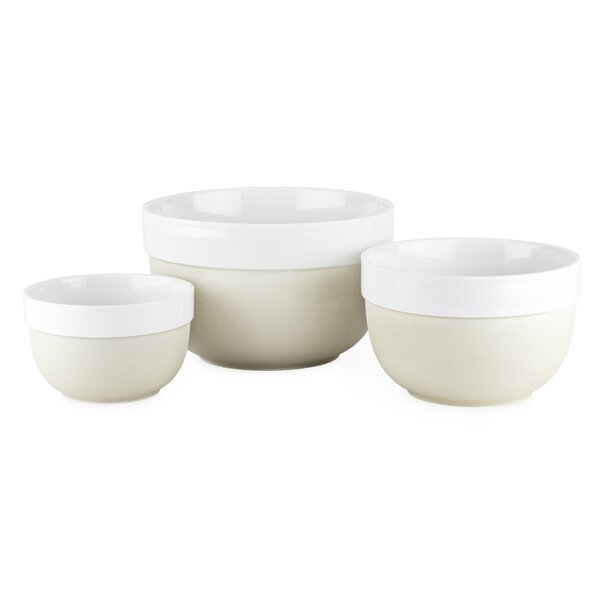 Pantry 3 Piece Clay and Ceramic Mixing Bowl Set by Twine