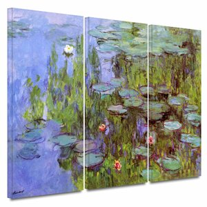 Sea Roses' by Claude Monet 3 Piece Painting Print on Wrapped Canvas Set by Three Posts