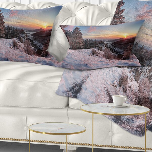 Landscape Printed Slovakia Panorama at Winter Lumbar Pillow by East Urban Home