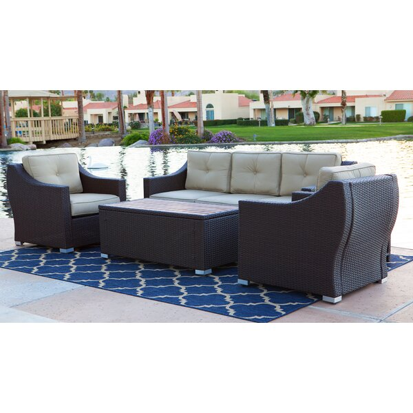 Tampa 4 Piece Sofa Seating Group with Cushions by World Wide Wicker