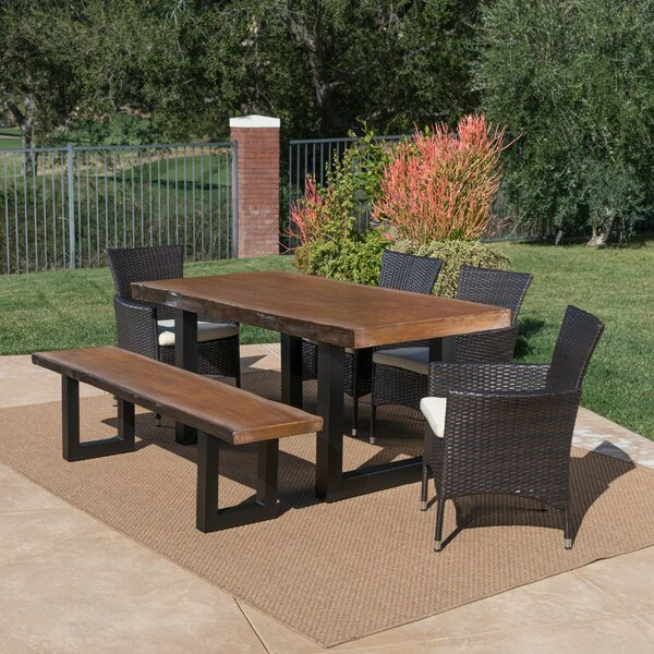 Crossfell Outdoor 6 Piece Dining Set with Cushions by Foundry Select