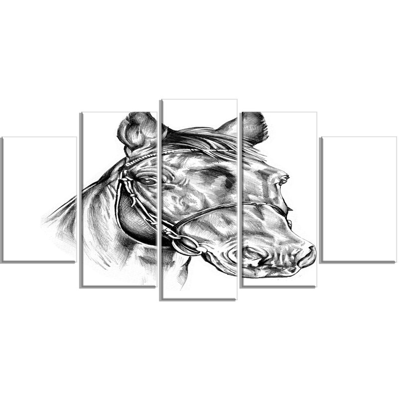 Designart Freehand Horse Head Pencil Drawing 5 Piece Wall Art On Wrapped Canvas Set Wayfair