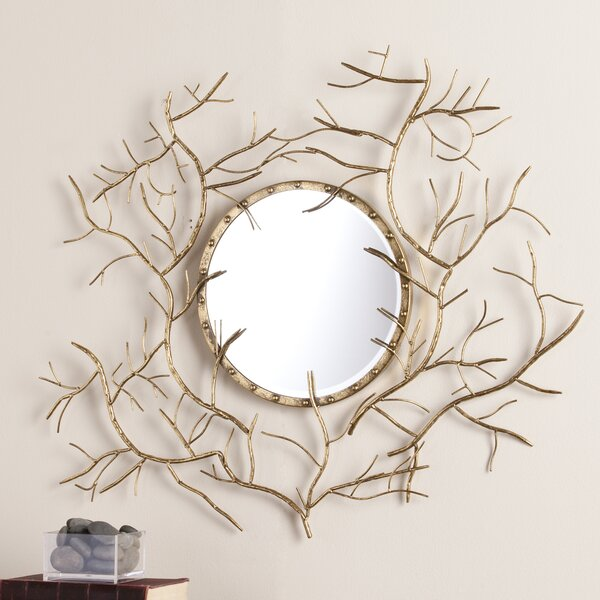 Bucher Round Metallic Gold Branch Wall Mirror by Bungalow Rose