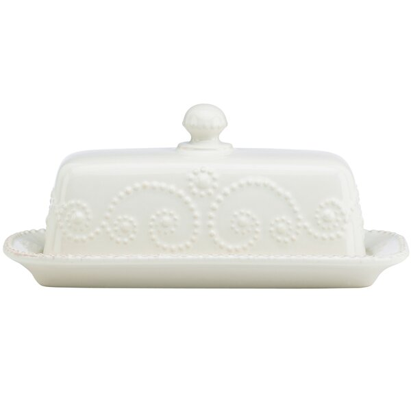 French Perle Covered Butter Dish by Lenox
