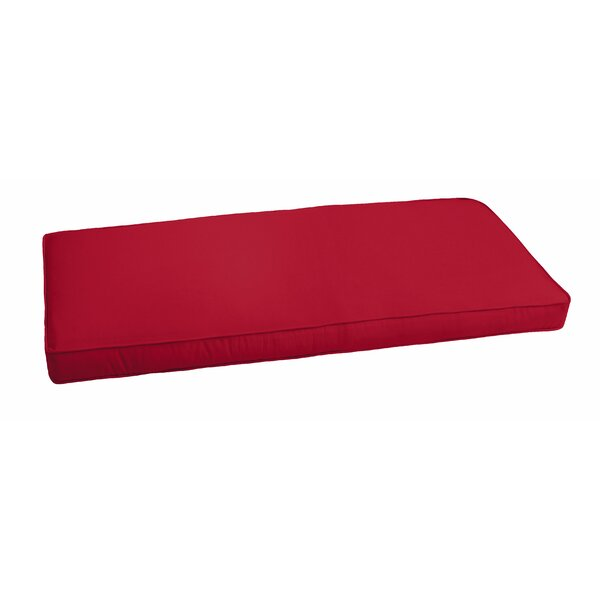 Crimson Piped Indoor/Outdoor Bench Cushion by Red Barrel Studio