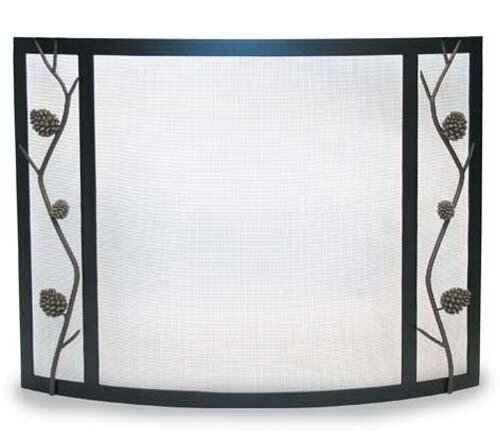Discount Pine Cone Bowed Single Panel Fireplace Screen