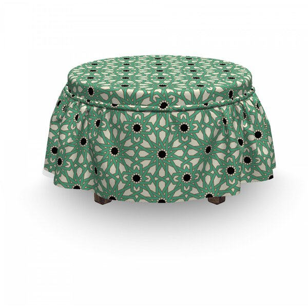 Moroccan North Stars 2 Piece Box Cushion Ottoman Slipcover Set By East Urban Home