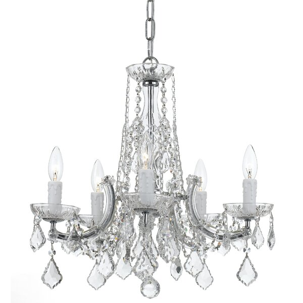 Claughaun 5 - Light Candle Style Tiered Chandelier With Crystal Accents By Rosdorf Park