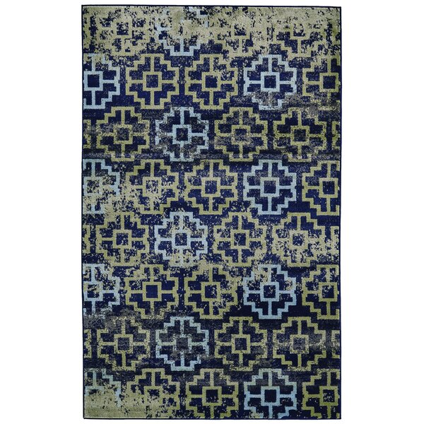 Knuth Green/Navy Area Rug by Winston Porter